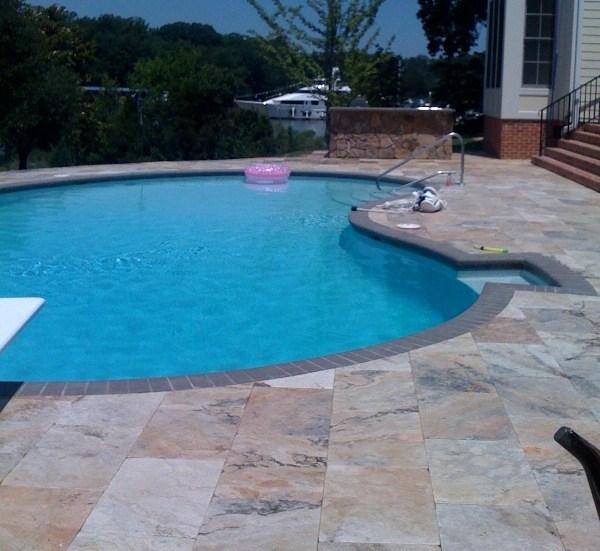 Attractive Travertine Pool Deck Overlay