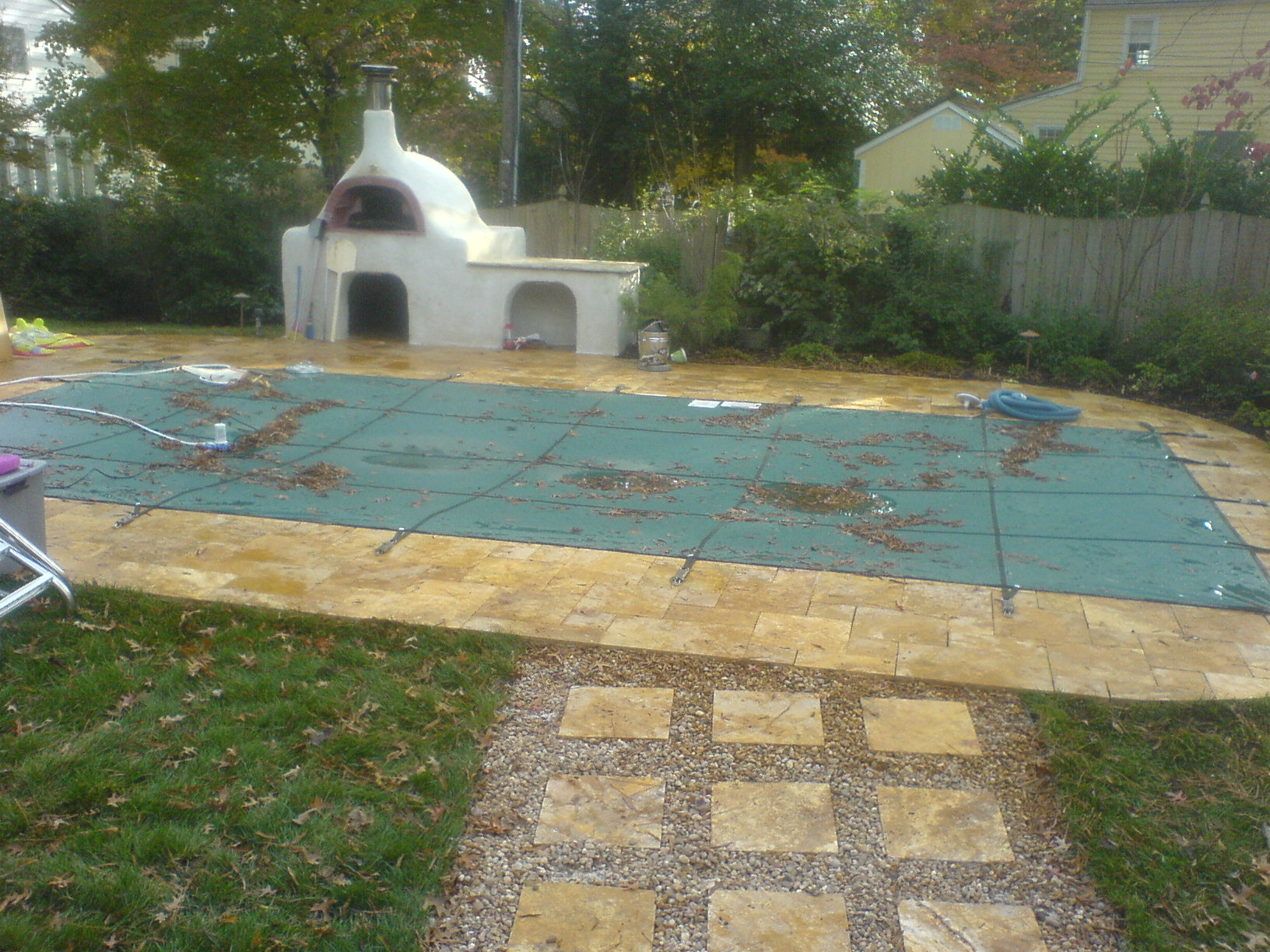 outdoor kitchen with pizza oven and travertine pool ask the