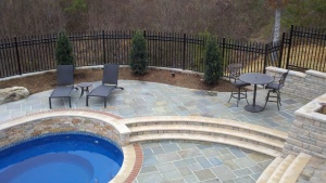 Pool with bluestone deck